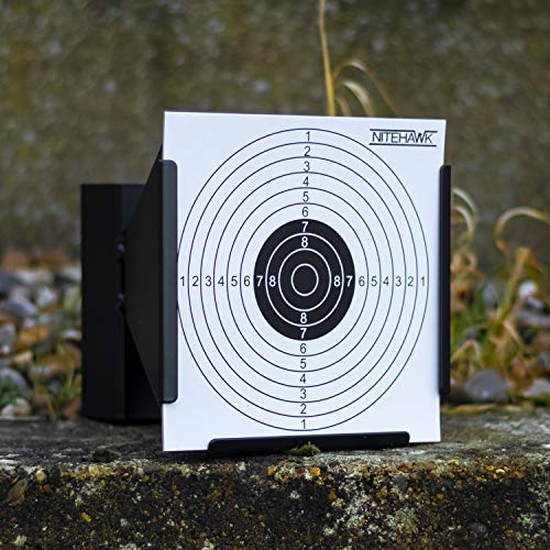 Nitehawk - Porte-cible entonnoir avec récupérateur de balles - pour fusil à air comprimé/pistolet d'airsoft - pour cibles de 14 cm