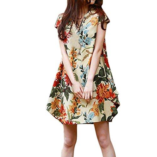 V-Ausschnitt Floral Bedruckt Bettwäsche aus Baumwolle Loser Bohé Lässiges Minikleid(X-Large,Beige) (Plus Size Weihnachts Outfits)