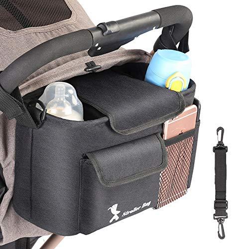 JKLP Buggy Organizer, Kinderwagen Organizer Universale Kinderwagentasche Stroller Organizer mit Reißverschlusstasche Stroller Bag mit Verstellbaren Bändern, Multifunktionale Buggy Tasche