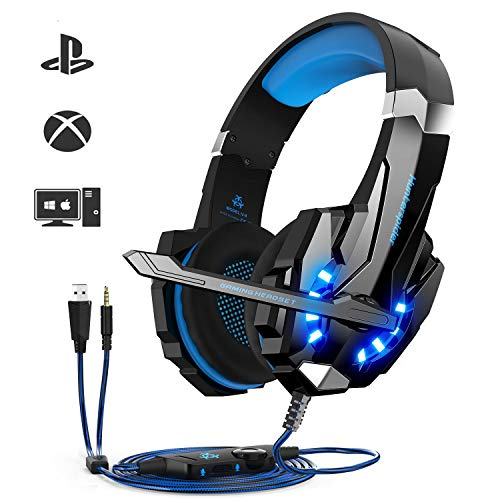 Cuffie da Gioco per PS4 Cuffie Gaming con 3.5mm Jack LED Cuffie da Gaming con Microfono Bass Stereo e Controllo Volume Gaming Headset per PS4/Xbox One X /S/Nintendo Switch/PC/Laptop/Tablet
