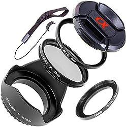 LUMOS Kit d'accessoires 49 mm avec capuchon d'objectif Pare-soleil Filtre UV Filtre polarisant et bague d'adaptation pour Sony Kit Alpha 5000 5100 6000 6300 & E 16-50 55-210
