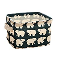 LAAT Portable Clothing Storage Basket Desktop Organizer Toy Storage Box Cosmetics Storage Pouch Pencil Holder Square Storage Cubes Cartoon Pattern (Bear)