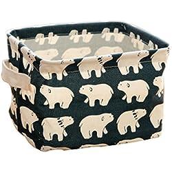 Westeng Caja de almacenamiento plegable Caja de almacenamiento de tela Mesa Organizador Cajón de tela Con mangos y patrones de animales para papelería y maquillaje (Azul)