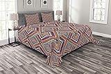 Abakuhaus Stammes Tagesdecke Set, Diagonal Ethno-Muster, Set mit Kissenbezügen Weicher Stoff, für Doppelbetten 264 x 220 cm, Lila Teal