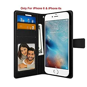 FOSO PU Leather Magnetic Flip Cover Case for iPhone 6 / 6S, (Executive Black)