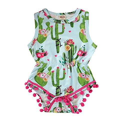 x Kurzarm Spielanzug Baby Mädchen Jungen Solid Baumwolle Strampler Kaktus Print Quaste Strampelanzug Kinderkleidung Frühling Und Sommer ()