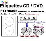 1000 étiquettes CD - DVD autocollantes standard autocollant de diamètre 117 mm + trou 17 mm -...