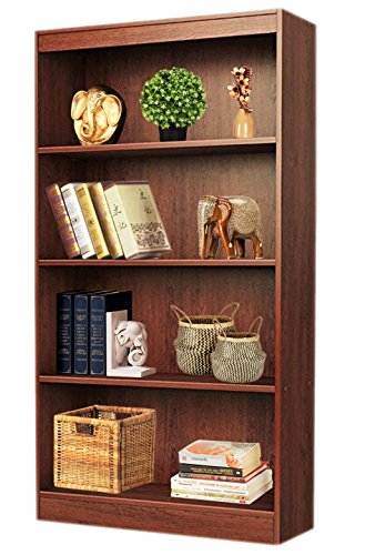 Bluewud Alex Wall Book Shelf / Home Decor Display & Storage Rack Cabinet Unit (Walnut, 4 Shelves, 52.8