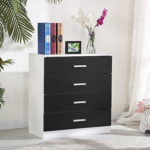 UEnjoy Kommode Sideboard Schrank Schlafzimmer Nachttisch mit 4 Schubladen Schwarz
