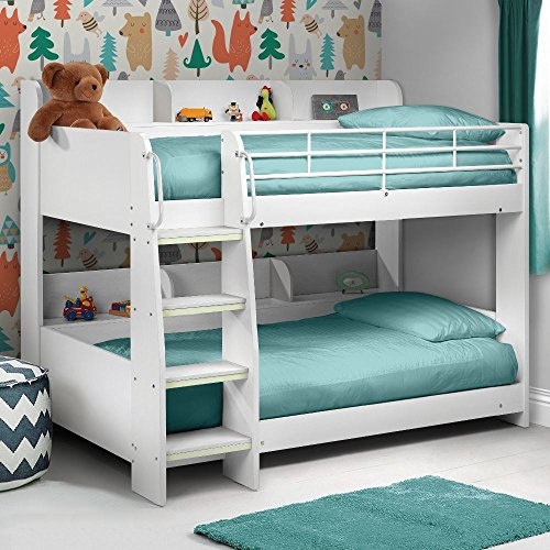 Happy Beds Domino White Finished Sleep Station Childrens Kids Bunk Bed 3 Single With 2x Luxury Spring Mattress