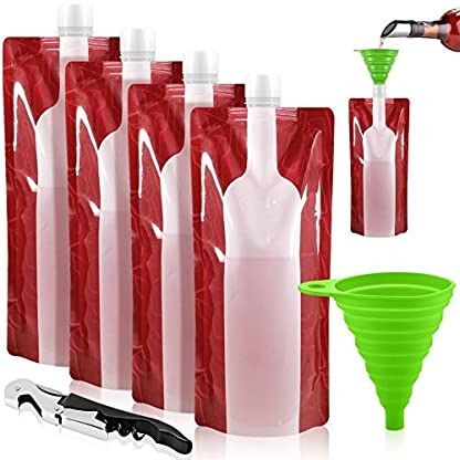 Jarger Foldable Wine Bag, 750 ml, Portable Reusable Plastic Wine Bottle Pouch, 4 Pack Collapsible Liquid Leak Proof Flask Holder for Wine Liquor Beverages, Travel, Gift - Red 1