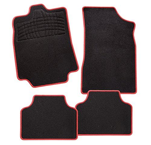 Preisvergleich Produktbild CarFashion 241682 Calypso Rot AL1 | Auto Fussmatte in schwarz | Automatten | schwarzer Trittschutz | rote Hochglanz Kettelung | Auto Fussmatten Set ohne Mattenhalter