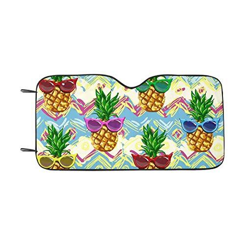 LLZQJ-DAA Ananas mit Sonnenbrille Auto Sonnenschutz Windschutzscheibe Sonnenschutz Universal Fit, Block Sun UV und Wärme