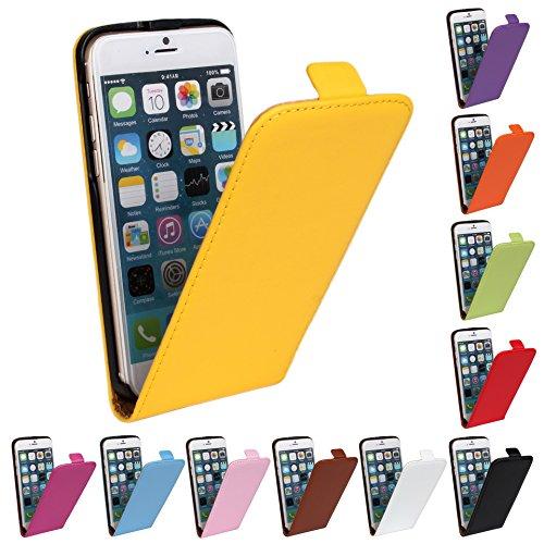 Meimeiwu Genuine Leather Wallet Cover Hülle Schutzhülle Etui Tasche Up-Down Flip Open Case für iPhone 5C - Orange Orange