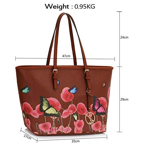 xardi Londres Grand Floral Femmes Fourre-tout en simili cuir pour sac à main mesdames Voyage sac à bandoulière marron