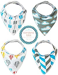 Kaydee Baby Bandana Drool And Dribble Bibs With Adjustable Snaps For Girls And For Boys (Dreaming) 4 Pack Gift...
