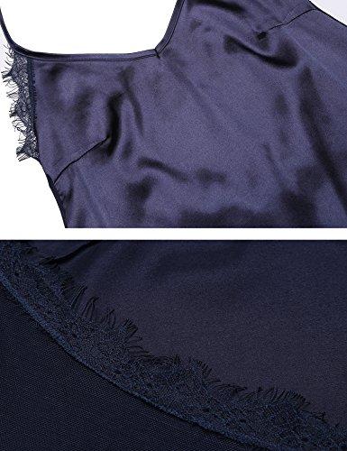 ADOME Sexy Damen Negligees aus Satin Lange Straps Nachthemd Edles Sommer Neckholder Nachtwäsche Nachtkleid Lingerie kleid Sleepwear Tops Marineblau