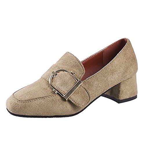 Dimaol Chaussures Femmes Cachemire Printemps Talons Confort Chunky Talon Carré Toe Pour Casual Kaki Beige Beige Beige