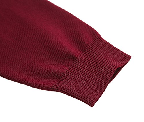 Damen V-Ausschnitt Kurz-Strickweste Strickjacke 3/4 Ärmel #2 winerot
