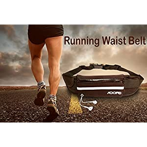 Adofo Running Belt Waist Pouch for Men + Women, Holds Smart Phones + Accessories. Best Fitness Gear for Hands-Free…