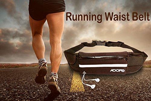 Adofo Unisex Running Belt Waist Pouch with Fitness Gear Accessories (Black, 8903554927538)