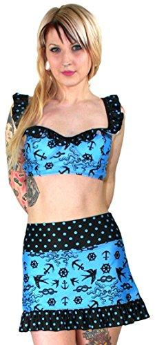 TooFast AUSTIN Pin Up Bikini Set OCTOPUS & ANCHORS With Dot Ruffle Rockabilly Aquamarinblau mit Schwarz