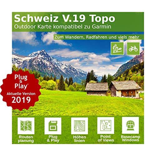 Schweiz V.19 - Profi Outdoor Topo Karte - Topografische Karte passend für Garmin Navigation - Zum Wandern, Geocachen, Bergsteigen, Radfahren, Radtour Gpsmap 60 Serie