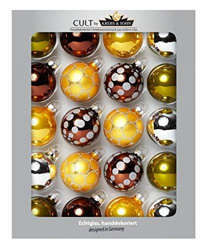 HEITMANN DECO 74569 Boules en Verre décoré, uni//Brillance, Verre, Light Terra/Olive/Curry Or/Argent, 7 x 27 x 33,5 cm