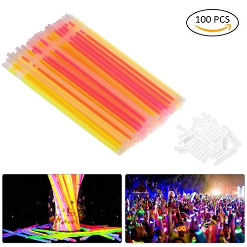 OZUAR Lot de 100 Bâtons lumineux fluorescents, 5 Couleurs Différentes avec Connecteur, Bracelets Fluorescents Lumineux Glow