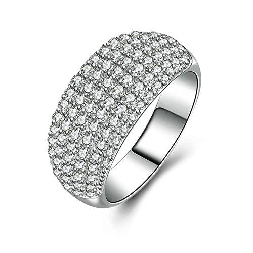 SonMo Ringe 925 Silber Verlobungsring Eheringe Heiratsantrag Ring Solitär Weiß Damen Diamant Ring Zirkonia Ringe Frauen Größe 60 (19.1)