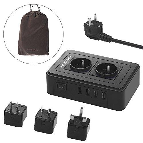 JZBRAIN Bloc Multiprise USB avec 3 Adaptateur de Voyage, Prise Parafoudre/Parasurtenseur Eelectrique avec 2 Prises 4 Ports USB de recharge, Chargeur m...