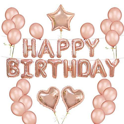 (Geburtstagsdeko Mädchen Happy Birthday Ballons Banner Geburtstags Ballons Mädchen, 20 Latex Ballons (Roségold) 1 Happy Birthday Ballons Banner 2 Herz Folienballon 1 Stern Folienballon Geburtstag Deko)