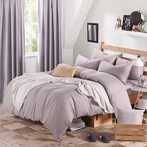 FuweiEncore 300TC Einfachheit Stil Reiner Baumwolle Reine Farbe Vier Satz Bettbezug (1Duvet Abdeckung 1 Blatt 2Pillowcase) -F König (Farbe : F, Größe : King) -