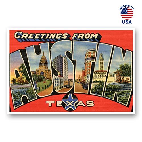 Grußkarten aus Autin, TX Vintage-Nachdruck, 20 Stück Postkarten-Set mit großem Buchstaben Austin, Texas, ca. 1930er-1940er-Jahre. Hergestellt in den USA.