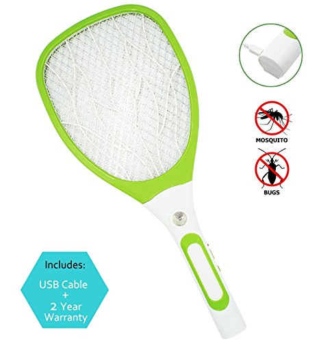 Samoa USB Mosquito Swatter dell'insetto della di Zapper Swatter racchetta ricaricabile fulmina con nuova impugnatura (verde)