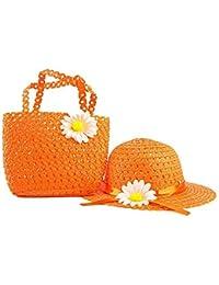 SAMGU Filles d'enfants chapeaux de plage Sacs Fleur Chapeau de Paille Sac fourre-tout Sac Costume enfants Summer Sun Hat 2-6 ans