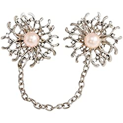MagiDeal Mode Damen Nette Sonnenblume Kragen Brosche Anstecknadeln Mit Kette Silber