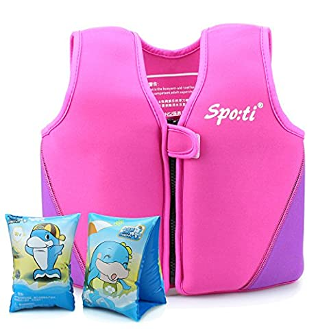 Girls Swimming Vest Buoyancy Aid - Siuyiu (2017 New Design) Child Neoprene UV Pink Swim Vest Life Jacket Float Suit, For Kids Age 3-4 Years Swimming Beginner Learn To Swim, Including Swimming Armbands, 8 Removable Floats With Adjustable Buoyancy, 100% UV Protective