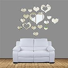 Leeko 3D Pegatinas de Pared 16PCS DIY Reloj de Pared Decoración de Espejo Corazón para Hogar, Cuartos, Dormitorio, Sala, Cocina,