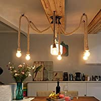 Retro DIY Hanfseile Hangeleuchte Industrielle Seil Pendelleuchten Vintage Mehrere Verstellbare Deckenleuchte Kreativ Spider Kronleuchter 6 Flammig