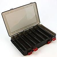 SODIAL Caja de Cebo de Pesca de Doble Cara PP Caja de Almacenamiento de plastico DE 18.5x27.5x5cm 14 Espacio Caja de camarones de Madera Caja de Pesca senuelo