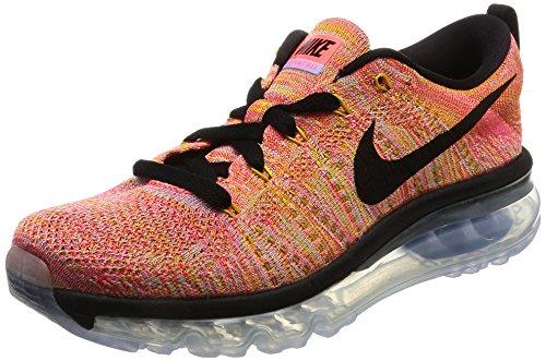 Nike Flyknit Air Max, Damen-Laufschuhe, - aluminium black hot punch 406 - Größe: 36 EU