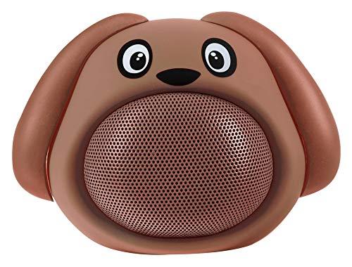 iCutes Tier Bluetooth Lautsprecher Dog (Mini Kinder Lautsprecher Box in tierischem Design & Freisprechfunktion) Braun