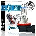 Beacon H11 Night Vision Scheinwerferlampe - Höchste Sicherheit bei Nebel, Regen, Schnee und nasser Fahrbahn - Passt in alle PKW mit H11 Lampen PGJ19-2 Sockel (12V 55W) für Abblendlicht, Fernlicht und Nebelscheinwerfer inkl. Straßenzulassung im eco-freundl