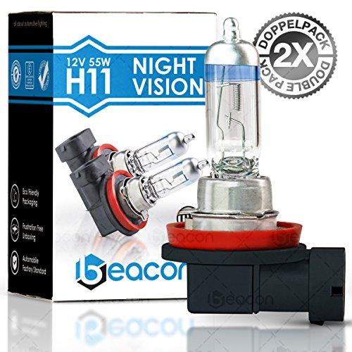 Beacon H11 Night Vision Scheinwerferlampe - Passt in alle PKW mit H11 Lampen PGJ19-2 Sockel (12V 55W) für Abblendlicht, Fernlicht und Nebelscheinwerfer im eco-freundlichen Doppelpack (2 Stück) - 12v 100w Ersatzlampe