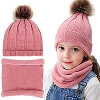 Yinuoday 2pcs Baby Knit Hat Scarf Toddler Winter Warm Beanie Cap Neck Warmer Newborn Kids Winter Hat for Girls