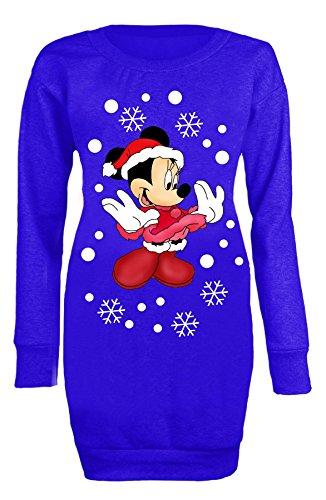 Donne di Natale Minnie Mouse Ladies Maglietta felpa a maniche lunghe in miniatura Royal