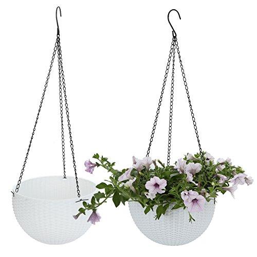 T4U Plastico Jardinera Colgante Redonda Cesta Percha de Planta de Jardín de Flores con Escurridor y Cadena - Blanco, Paquete de 2
