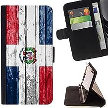 FJCases República Dominicana Dominico Bandera con Patrón de Madera Carcasa Funda Billetera con Ranuras para Tarjetas y Soporte Plegable para Sony Xperia M4 Aqua