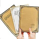 24pcs Vintage Retro Diseño Escritura Papelería Papel Carta Papel de escribir Carta conjuntos, color marrón